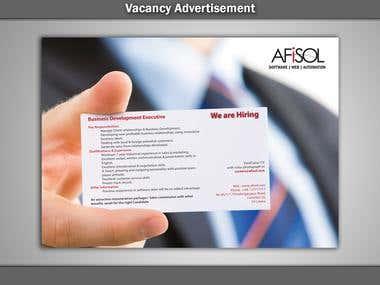 Vacancy Advertisement Afisol 001