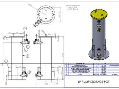 Designing of pump storage pot from pump overall dimension