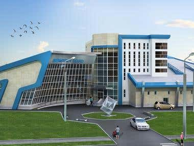 3D Rendering of a Hospital Building