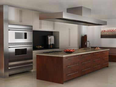 3D Rendering of a Modern Kitchen Interior