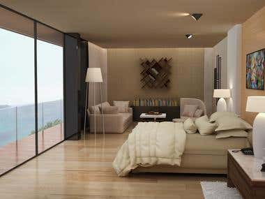 3D Rendering of a Hotel Suite Interior