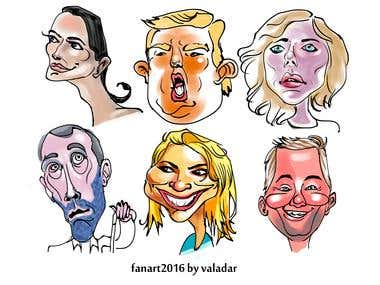 Caricature character, media famous
