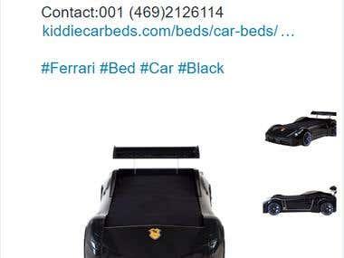 Twitter setup for Kiddie Car Bed