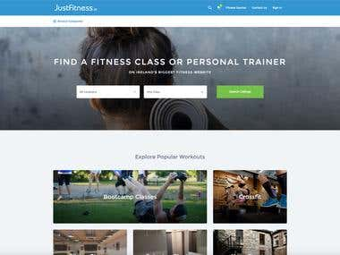Justfitness.ie website