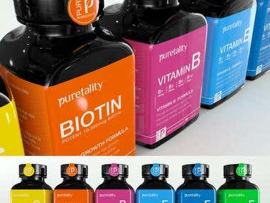 Vitamin supplements and 3d renders