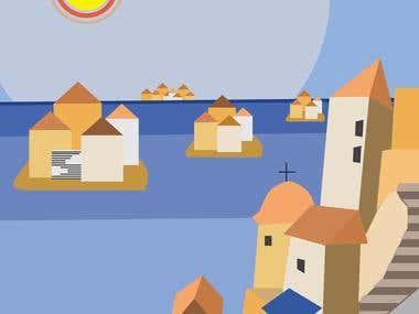 Tourism promotion Poster for Greek Island group Sporades