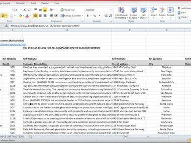Company/Executive information into Excel