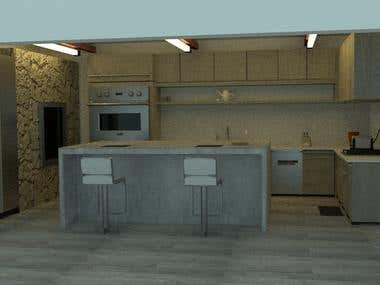3D Rendering : Kitchen Design