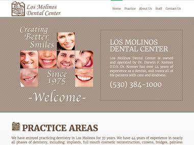 Customized website for Los Molinos Dental Center