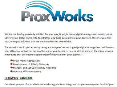 Landing/Sales Page for Prox Works