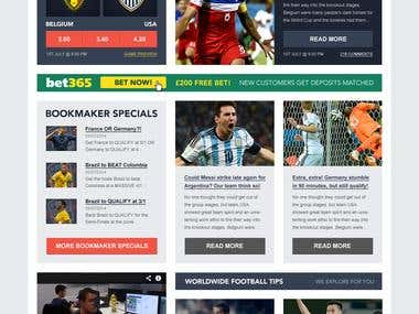 Website Design - Football news and tips network