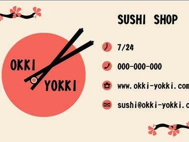 Visit card for sushi shop