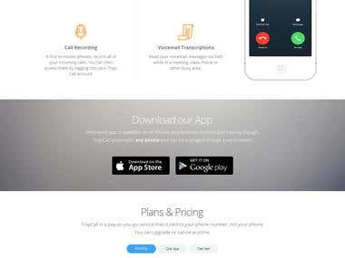 Trapcall app website layout design