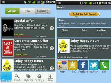 Deal Finder application iphone/Android