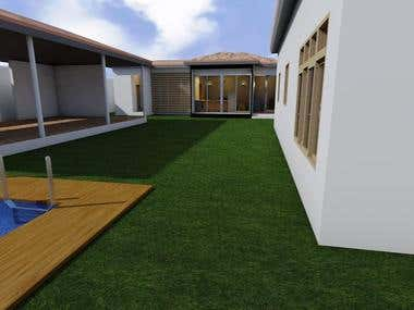 Exterior 3D Render 1bedroom Small House