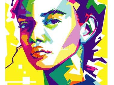 vector :  simple art potrait, and  WPAP