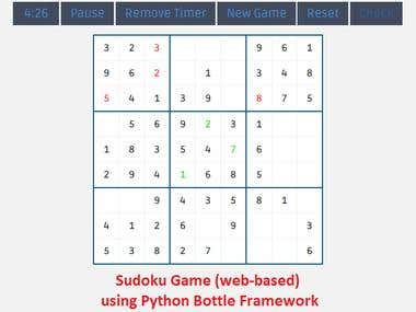 Web based Sudoku using Python - Bottle