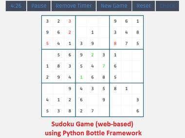 Web based Sudoku using Python - Bottle
