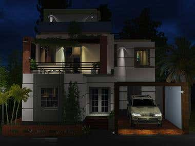 duplex house exterior night view