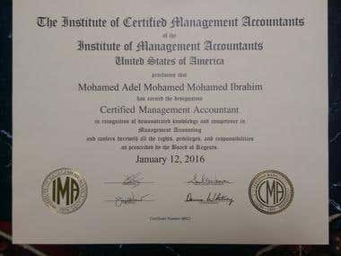 Mr. Mohamed Adel CMA Certificate