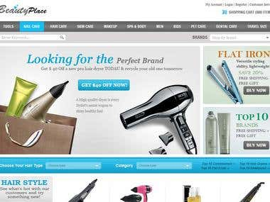 eCommerce website designed and developed for beauty products