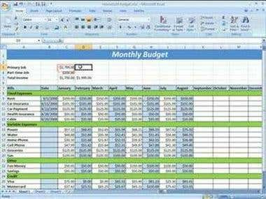 Monthly budget excel sheet