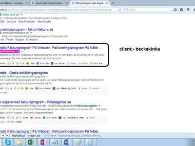 Get 1st page rank on Google.se