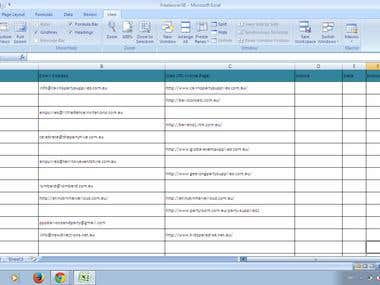 Fill in the Speadsheet with data