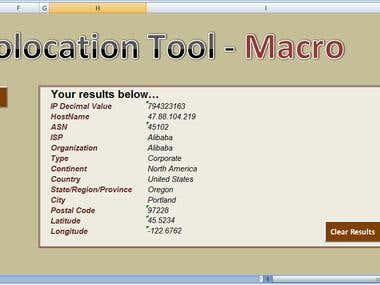 Excel Macro -VBA Code - IP Geolocation Tool