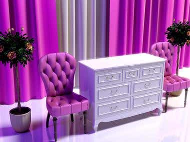 classic velvet chair and candice dresser