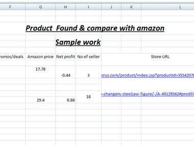 Amzon , web search , market research , product description