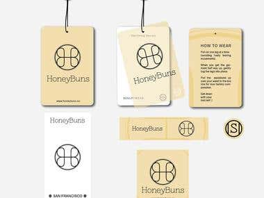 The labels design for Honey Buns fashion brand.