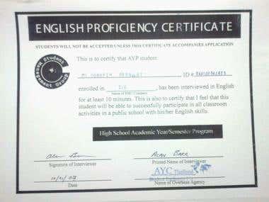 English Proficiency Ccertificate