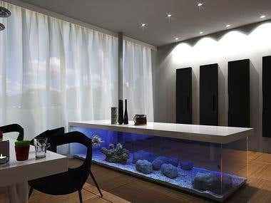 Interior with aquarium