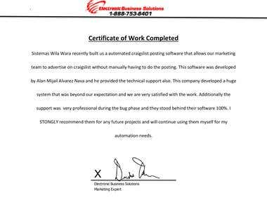 """""""Electronic Business Solutions"""" work certification"""