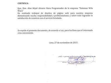 """JME Ingeniería Estructural"" work certification"