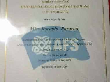AFS Intercultural Programs Thailand certificate