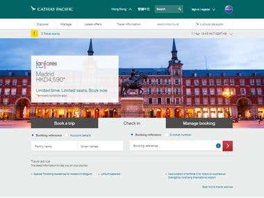Cathay Pacific Airlines Booking Website