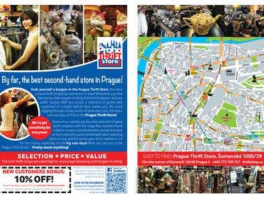 Double Sided informative flyer for the Prague Thrift Shop