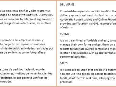 Product descriptions   SPA to ENG general translation