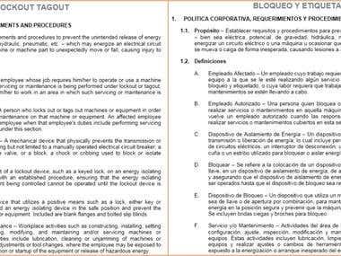 OSHA procedures   ENG to SPA Technical Translation