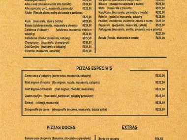 Bar & Restaurant MENUS