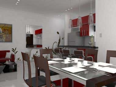 3D Kitchen - Dining Room - Living Room, Modern Style