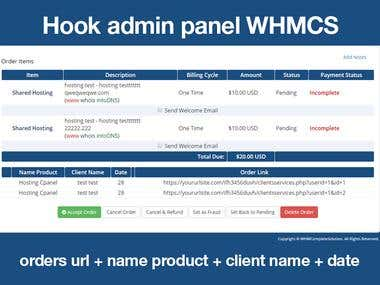 Hook for Admin Panel WHMCS