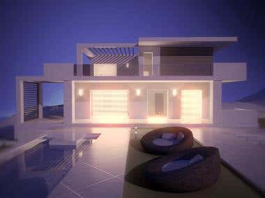 Modern Villa night scene