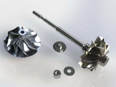 Turbocharger shaft wheel assembly