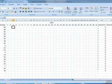 Create a spreadsheet to show Overtime Rota for staff members
