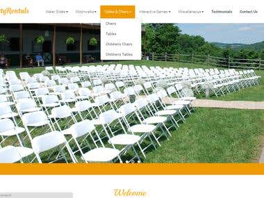 Party Rental Website