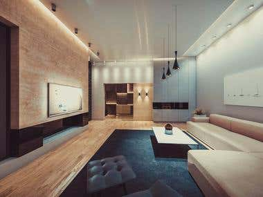 Interior for Living Room and Bathroom