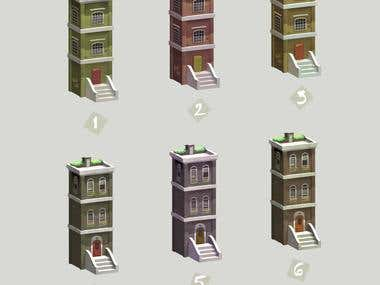 Buildings for mobile game.